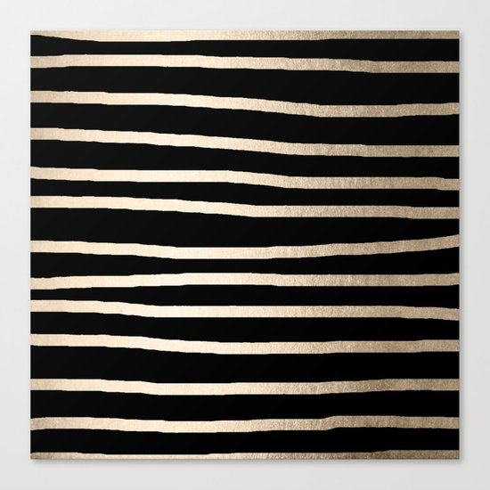 Simply Drawn Stripes White Gold Sands on Midnight Black Canvas Print