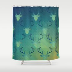 Aqua Antlers Pattern Shower Curtain