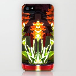 Symmetrical Red Flowers in Striped Pot iPhone Case