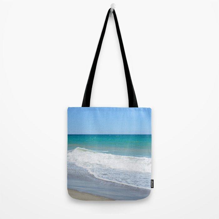 Sandy beach and Mediterranean sea Tote Bag