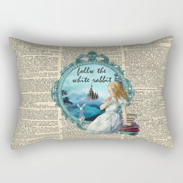 Follow The White Rabbit - Vintage Dictionary page Rectangular Pillow