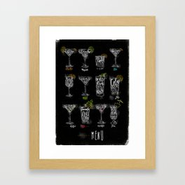 Cocktail menu color graphic chalk Framed Art Print