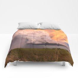 Storm Runner - Thunderstorm in Golden Light Over Kansas Landscape Comforters