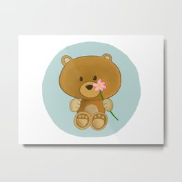 Bear holding flower Metal Print