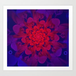 Abstract Colorful Flower with Hearts | Valentine's Day - 14 February Art Print