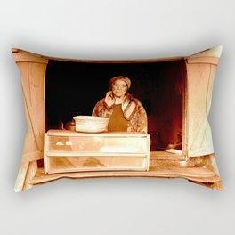 strong welcoming woman Rectangular Pillow