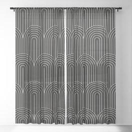 Art Deco Arch Pattern V Black & White Sheer Curtain
