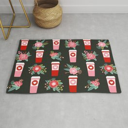 Coffee florals modern valentines day gifts for coffee lovers floral botanical bouquet Rug