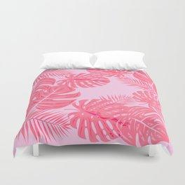 Tropical flamingo pink leaves Duvet Cover