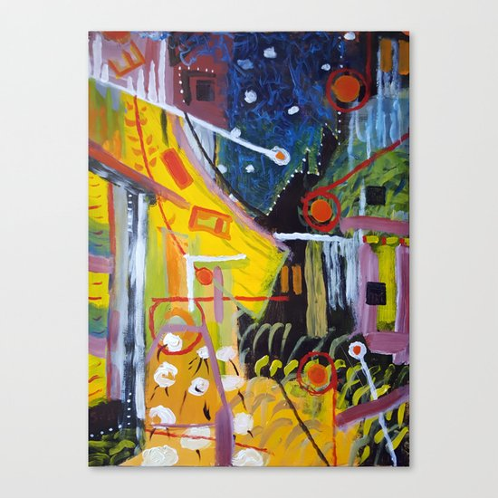 Cafe Terrace at Night a la Mela Canvas Print