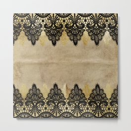 Elegance- Ornament black and gold lace on grunge paper backround Metal Print