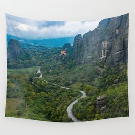 Meteora Monastery Landscape Wall Tapestry