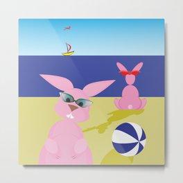 Bunnies on the beach Metal Print