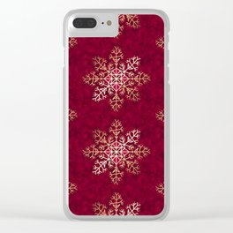 Primitive Gold Snowflakes on Red Clear iPhone Case