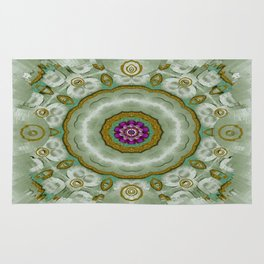 Soft And Sweet Lotus Floral In greens Rug