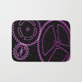 Set of purple gears and cogs on virtual screen Bath Mat