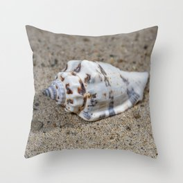 spotted sea snail shell Throw Pillow