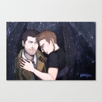 destiel Canvas Prints featuring Destiel by enerjax