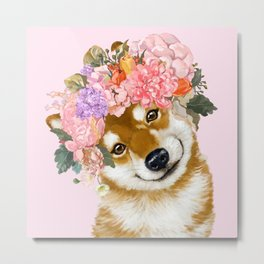 Shiba Inu with Flower Crown Metal Print
