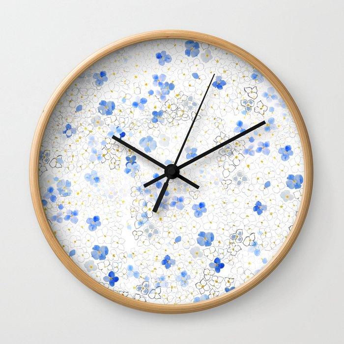 blue abstract hydrangea pattern Wall Clock
