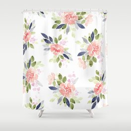 Peach & Nvy Watercolor Flowers Shower Curtain