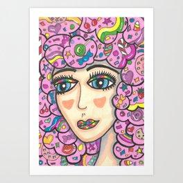 Cotton Candy Hair Girl Art Print