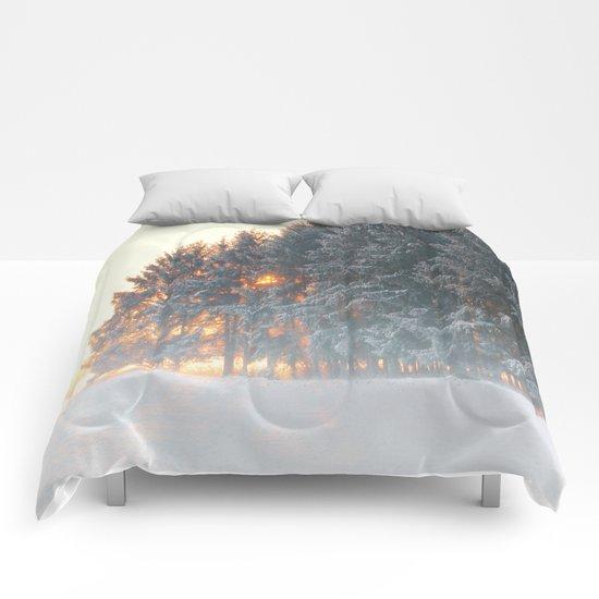 Sunrise in winter cloud forest Comforters