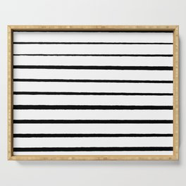 Black and White Rough Organic Stripes Serving Tray