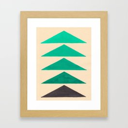 Colorful Turquoise Green Geometric Pattern with Black Accent Framed Art Print