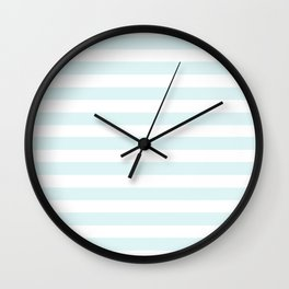 pastel mint stripes Wall Clock
