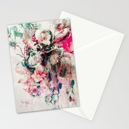 Watercolor Elephant and Flowers Stationery Cards
