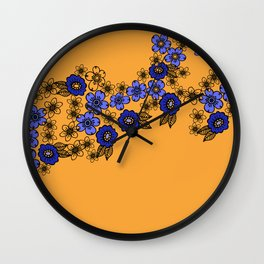 blossom of Flowers blue - yellow Wall Clock