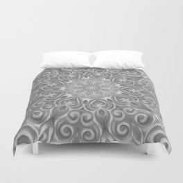 Gray Center Swirl Mandala Duvet Cover