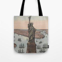 Vintage NYC & Statue of Liberty Illustration (1885) Tote Bag