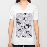 floral V-neck T-shirts featuring Hide and Seek by nicebleed