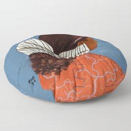 Of orange and stripes Floor Pillow