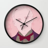the grand budapest hotel Wall Clocks featuring The Grand Budapest Hotel II by Itxaso Beistegui Illustrations