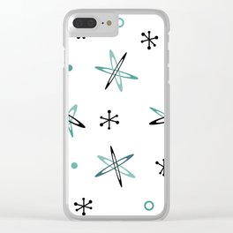 Atomic Era Space Age Teal Black White Clear iPhone Case