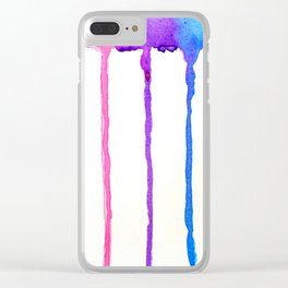 Neon Rainbow Paint Drips Clear iPhone Case
