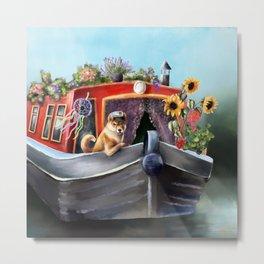 Dog on boat. London channel boat  Metal Print