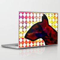bull terrier Laptop & iPad Skins featuring Bull Terrier Jester by Erin Conover