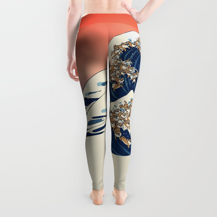The Great Wave of Shiba Inu Leggings