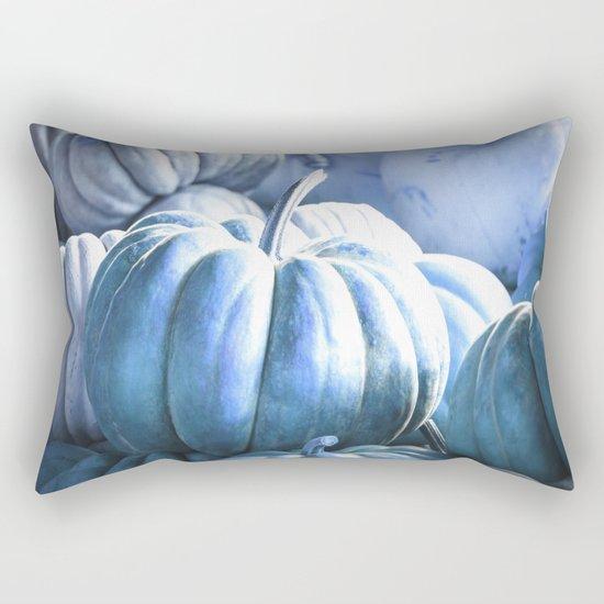 Autumn Pumpkins Blue Rectangular Pillow