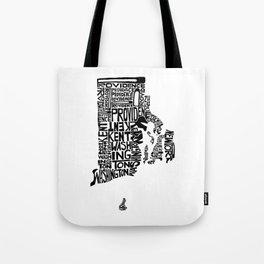 Typographic Rhode Island Tote Bag
