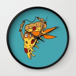 Orange Pizza Ninja Wall Clock