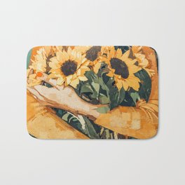 Holding Sunflowers #society6 #illustration #nature #painting Bath Mat