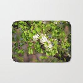 White Spring Blossoms Bath Mat