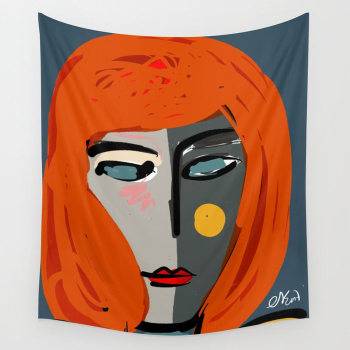 Mysterious Girl Portrait Stefania Style Art Wall Tapestry