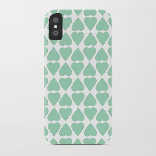 Diamond Hearts Repeat Mint iPhone Case