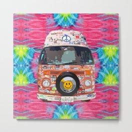 Groovy Hippie Van Metal Print